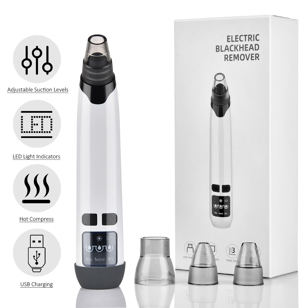 Blackhead Remover Pimple Acne Extractor Face Deep Pore Cleaner Removal Vacuum Suction Acne Black Head Remover Warmer Skin Tools