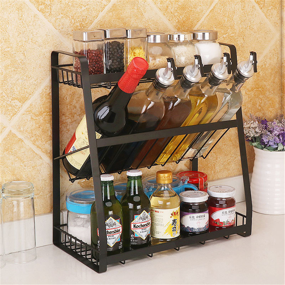3 Layers Kitchen Spice Rack Stainless Steel Countertop Spice Jars Bottle Shelf