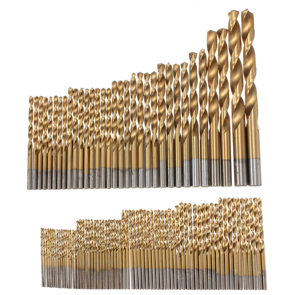 Drillpro 100pcs 1.5mm - 10mm Titanium Coated Drill Bit Set High Speed Steel Manual Twist Drill Bits