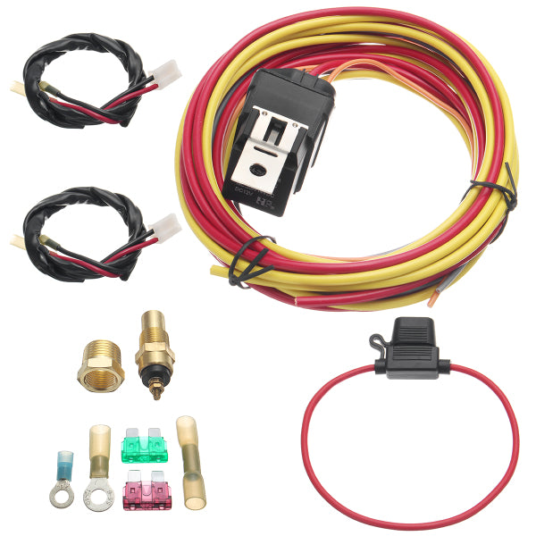 Electric Fan Relay Wiring Harness Thermostat Dual Sensor Kit 40 Amp Heavy Duty