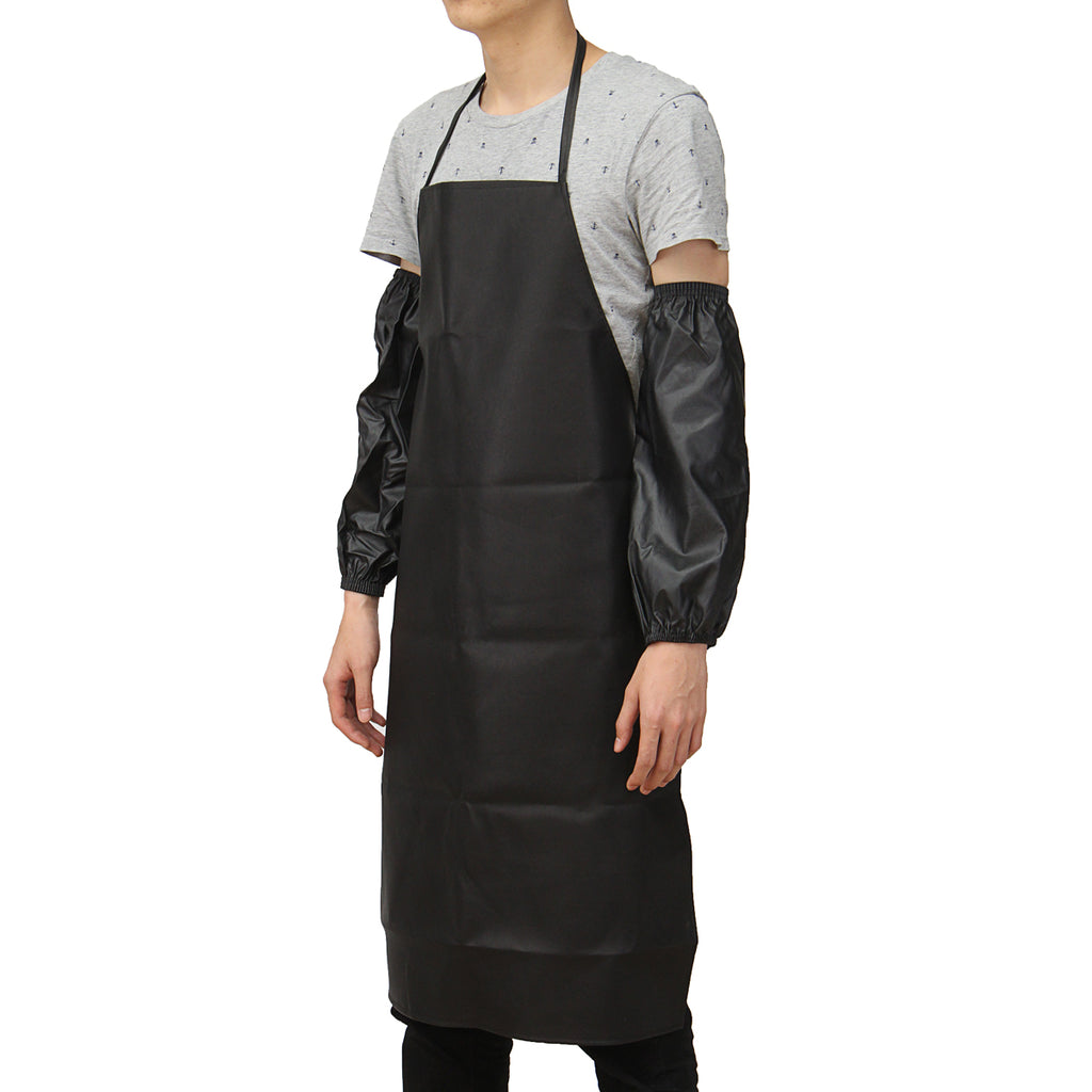 Waterproof Anti-Oil Restaurant Cooking Chef Leather Apron With Cuff Oversleeve Kitchen Aprons