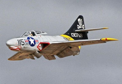 "Top RC F9F Cougar Scale R/C jet 62"" Jolly Roger"