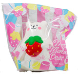 IBloom Marshmallow Bear Squishy front view of Red Strawberry in packaging