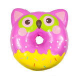 Puni Maru Jumbo Animal Donut Squishy pink owl version front view