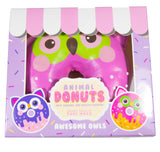 Puni Maru Jumbo Animal Donut Squishy pink owl version in box front view