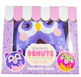 Puni Maru Jumbo Animal Donut Squishy purple owl version in box front view