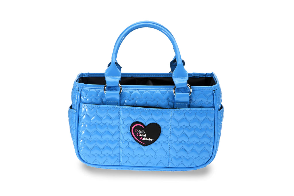 Glossy Bright Blue Heart TGA Athletic Handbag