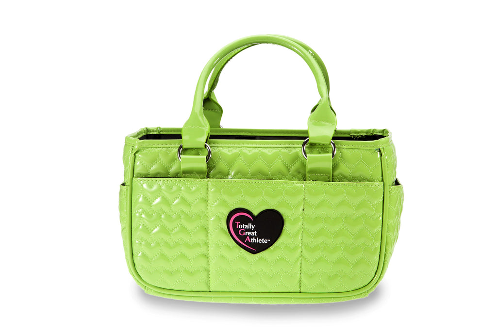 Glossy Neon Green Heart TGA Athletic Handbag