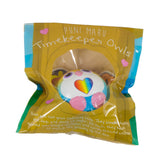 Timekeeper Owl Squishy Rainbow Heart version front view in packaging