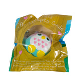 Timekeeper Owl Squishy Mini Purple Heart version front view in packaging