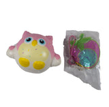 Timekeeper Owl Squishy strawberry sundae sprinkles version front view with clock tag
