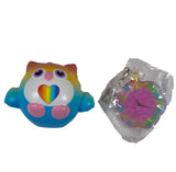 Timekeeper Owl Squishy Rainbow Heart version front view with clock tag