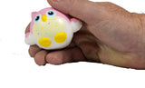 Timekeeper Owl Squishy strawberry sundae sprinkles version front view in hand