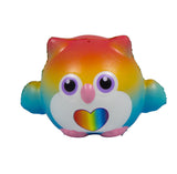 Timekeeper Owl Squishy Rainbow Heart version front view