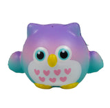 Timekeeper Owl Squishy Mini Purple Heart version front view