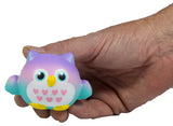 Timekeeper Owl Squishy Mini Purple Heart version front view in hand