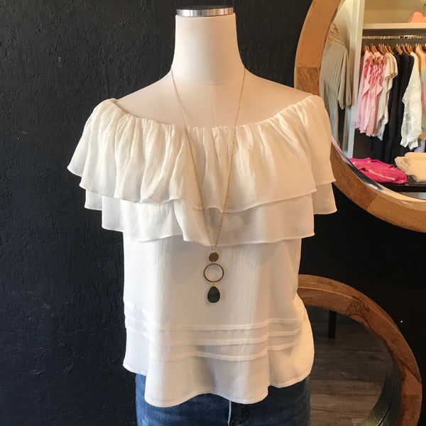 Ruth Ruffled Off the Shoulder Top - Off White