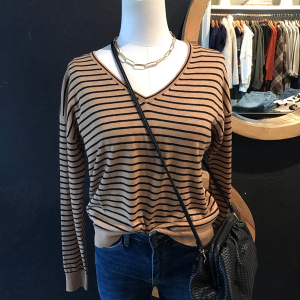Sally Striped V Neck Pullover
