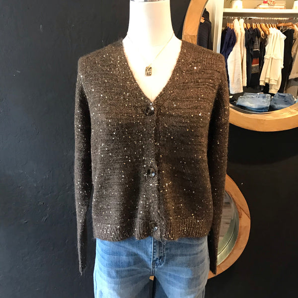 Chocolate Sabrina Sequin Sweater