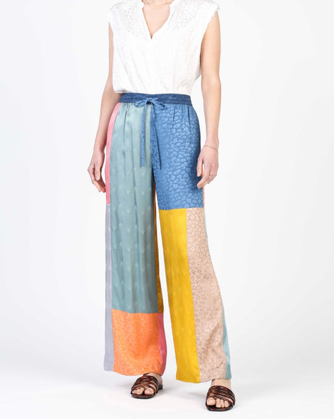Color Block Long Wide Legged Pant