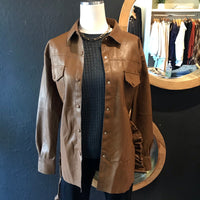 Bella Brown Button Down Vegan Leather Jacket