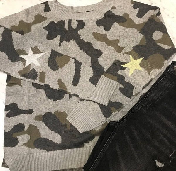 Colleen Camo Crew Neck Sweater