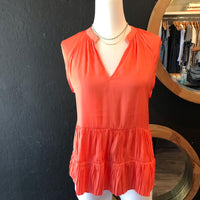 Tiffy Tiered Coral Pleated Sleeveless Top