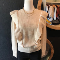 Cora Cream Ruffled Detail Sweater