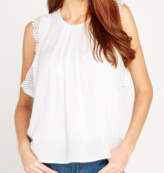 Cream Crochet Trim Ruffle Top