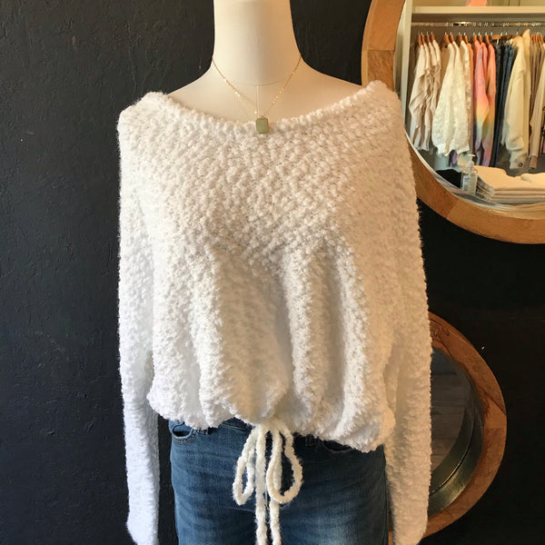 Puff White String Sweater