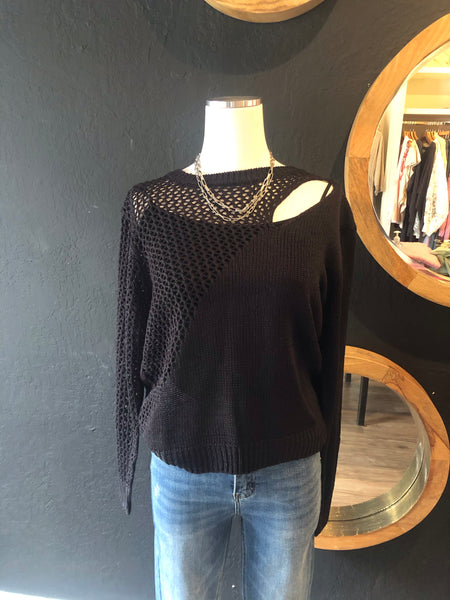 Beatrice Black Open Knit Sweater