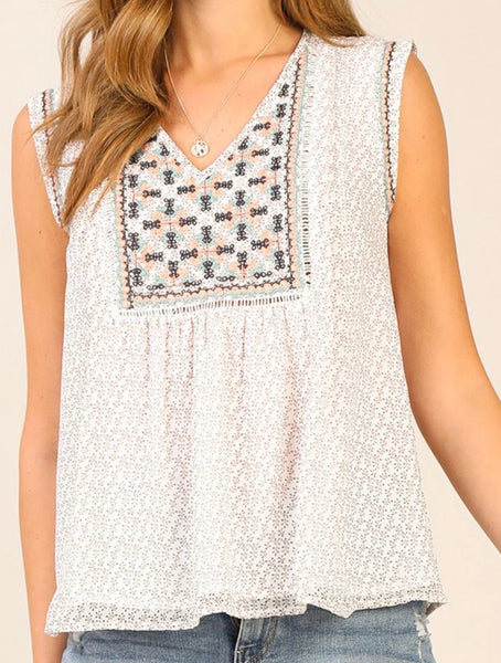 V Neck Embroidered Sleeveless Top