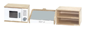 (PRE-ORDER) White Kitchen - Microwave, Exhaust Hood and Wall Shelves 3 in 1