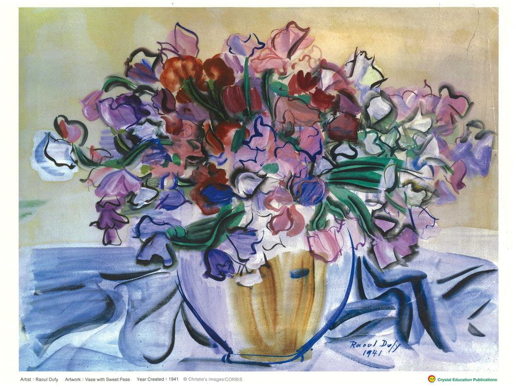 Vase with Sweet Peas (Raoul Dufy, 1941) 香豌豆的花瓶