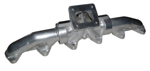 1998.5 And Up 5.9L Or 6.7L Cummins 3-Piece Pulse Flow Exhaust Manifold Kit T-4 Turbo Flange Center Wastegated Ceramic Coated Chrome ATS Diesel