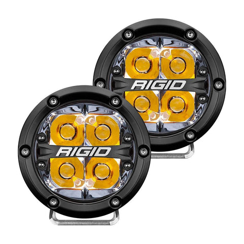 360-Series 4 Inch Led Off-Road Spot Beam Amber Backlight Pair RIGID Industries - LED Light Pods - Rigid Industries - Texas Complete Truck Center