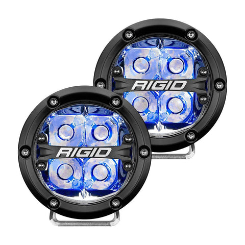 360-Series 4 Inch Led Off-Road Spot Beam Blue Backlight Pair RIGID Industries - LED Light Pods - Rigid Industries - Texas Complete Truck Center