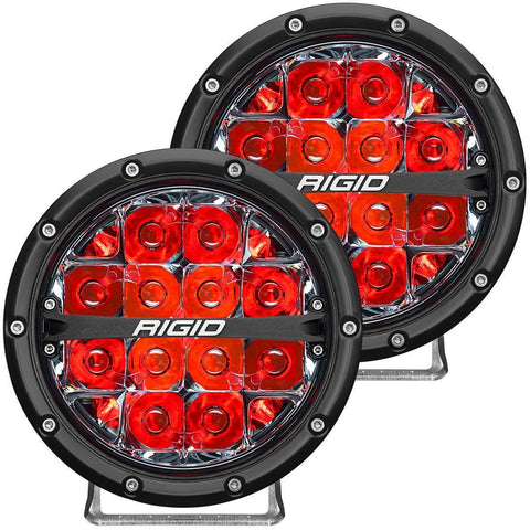 360-Series 6 Inch Led Off-Road Spot Beam Red Backlight Pair RIGID Industries - LED Light Pods - Rigid Industries - Texas Complete Truck Center