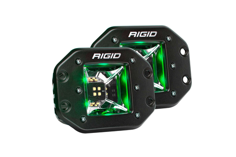 Scene Green Backlight Flush Mount Pair Radiance RIGID Industries - Auxiliary Light - Rigid Industries - Texas Complete Truck Center