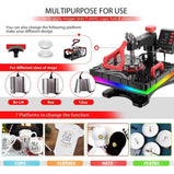 VIVOHOME Upgraded 8 in 1 Combo Multifunctional Swing Away Clamshell Printing Sublimation Heat Press Transfer Machine for T-Shirt Hat Cap Mug Plate 15 x 12 Inch ETL Listed