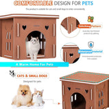 DEStar 16.1 Inch Indoor Outdoor Waterproof EVA 3D Jigsaw Puzzle Cat House Easy Set-up DIY Pet Kitty Shelter with Flat Roof