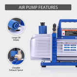 VIVOHOME Rotary Vane Air Vacuum Pump with Oil Bottle ETL Listed