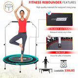 VIVOHOME 40 Inch Foldable Fitness Trampoline with Adjustable Handle, Exercise Bungee Mini Rebounder for Adults Kids, Max Load 330lbs