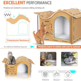 DEStar 15.7 Inch Indoor Outdoor Waterproof EVA 3D Jigsaw Puzzle Cat House Easy Set-up DIY Pet Kitty Shelter with Wavy Roof