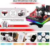 Best New Heat Press ETL Listed Heat Guide Transfer Machine For T-Shirt Hat Cap Mug VIVOHOME 6 In 1 & 15 X 12 Inch