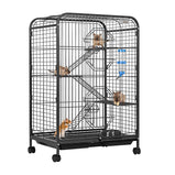 VIVOHOME 37 Inch Metal Indoor Outdoor 4 Levels Small Animal Cage Hutch with Water Bottle Ladders and Rolling Stand for Guinea Pig Pet Cat Ferret Chinchilla