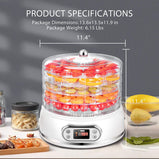 VIVOHOME Electric 400W 5 Trays Round Food Dehydrator Machine with Digital Timer and Temperature Control for Fruit Vegetable Meat Beef Jerky Maker BPA Free White