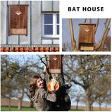 DEStar Premium Pine Wood Bat House Box Shelter Outdoor with Single Chamber and Heavy Duty Metal Hook