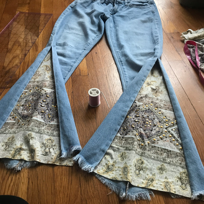 DIY Hand sewn bell bottom jeans