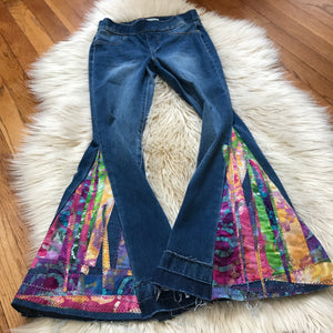Custom PATCHWORK Bell Bottom Jeans - Up-cycled clothing by Andrea Durham Designs